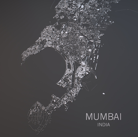 negative area: Map of Mumbai, India, satellite view, map in 3d
