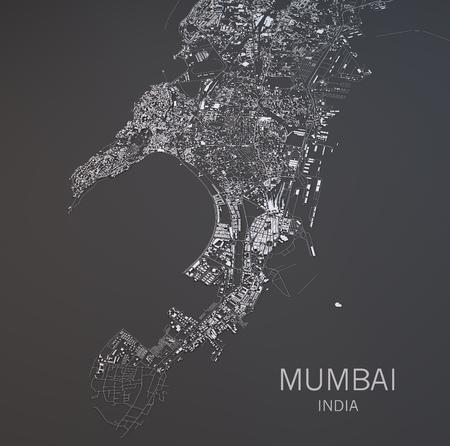 aerial: Mapa de Mumbai, India, foto satélite, mapa en 3D