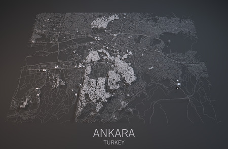 negative area: Map of Ankara, Turkey, satellite view, map in 3d
