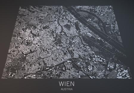 satellite view: Vienna, Wien, map, satellite view, section 3d, Austria
