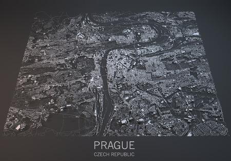 プラハの地図、衛星ビュー、3 d、チェコ共和国のセクション