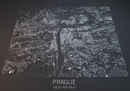 satellite view: Prague map, satellite view, section 3d, Czech Republic Stock Photo