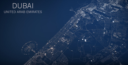 aerial: Map of Dubai, United Arab Emirates, satellite view, map in 3d