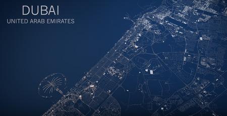 aerial: Mapa de Dubai, Emiratos Árabes Unidos, foto satélite, mapa en 3D