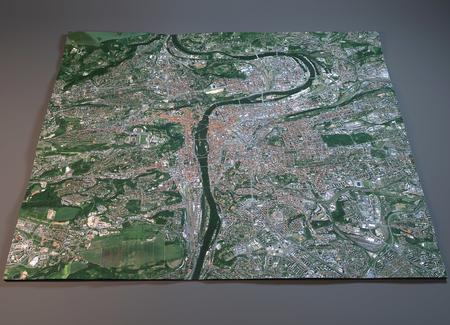 satellite 3d: Prague map, satellite view, section 3d, Czech Republic Stock Photo