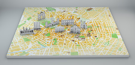 satellite view: Milan satellite view, map and monuments drawn by hand, paper effect