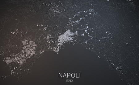 satellite view: Napoli, Naples satellite view, section 3d, Campania, Italy