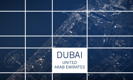 negative area: Map of Dubai, United Arab Emirates, satellite view, map in 3d