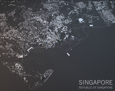 Map of Singapore, Asia, satellite view, map in 3d Stock Photo