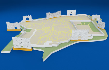 old city: The gates of Jerusalem, the old city map, Israel