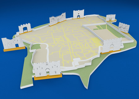 The gates of Jerusalem, the old city map, Israel