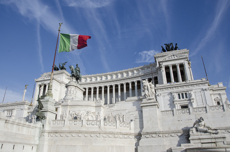 rome italy: Altar of the Fatherland, Victorian, Rome, Italy. Flag of Italy