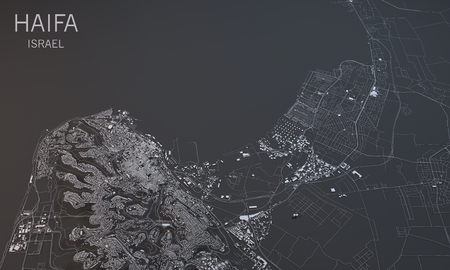 satellite view: Map of Haifa, Israel, satellite view, map in 3d