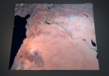 satellite view: Syria, satellite view, map, section 3d, land, middle east Stock Photo