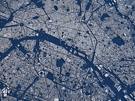 Map of Paris, France, satellite view, map in 3d