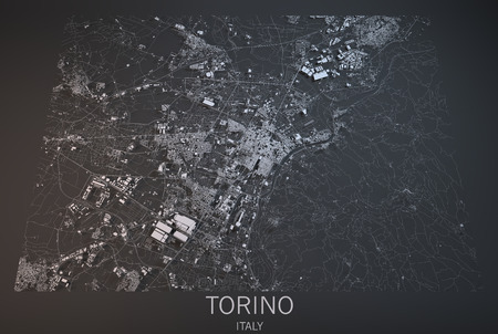 satellite view: Turin, satellite view, section 3d, Italy