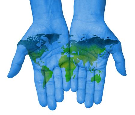 Handen met kaart van de wereld, kaart van de wereld getrokken Stockfoto
