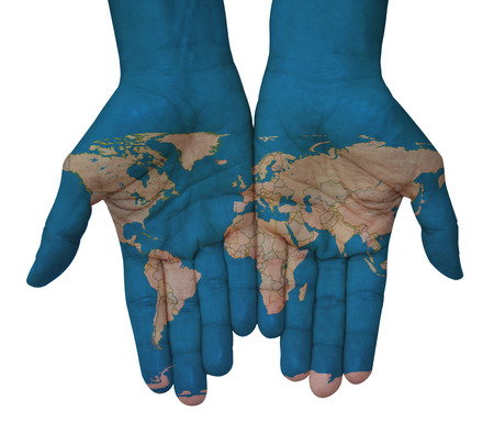 guerrilla warfare: Hands with world map, map of the world drawn