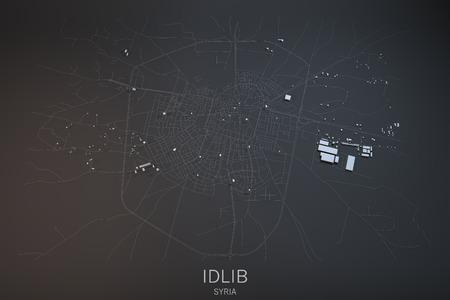 satellite 3d: Idlib, satellite view, section 3d, Syria