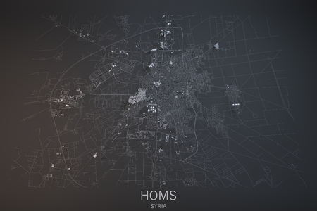 satellite view: Homs, satellite view, section 3d, Syria
