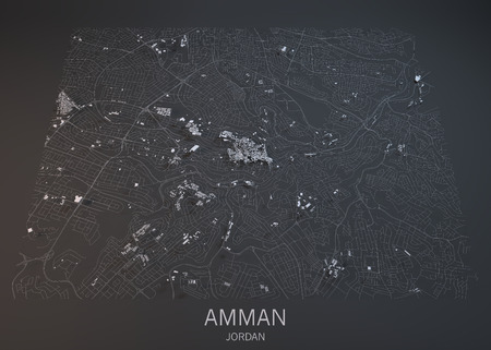 satellite view: Amman map, satellite view, section 3d, Jordan Stock Photo