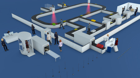 Flughafen-Check-in, Gepäck Pfad, Schecks in einem Flughafen-Terminal