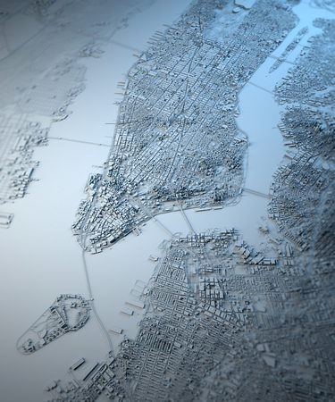 New York 3D map, satellite view, building