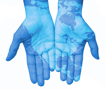 Hands with North America, map of the United States and Canada designed. The world in your hand