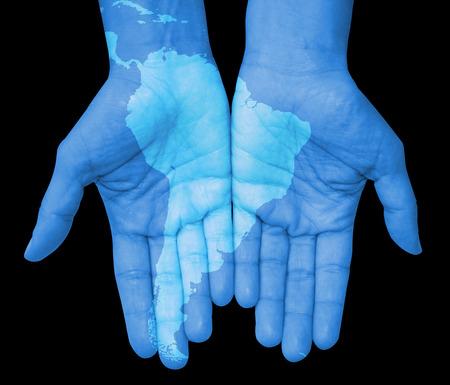 남미, 남미 손이 그려진지도. 당신의 손에 세계