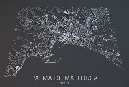 satellite view: Palma de Mallorca, satellite view, map, Balearic, Spain Stock Photo