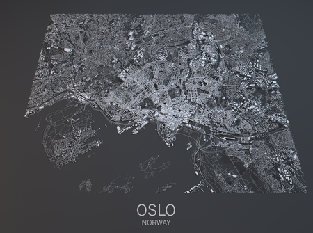 satellite view: Oslo, satellite view, map, city, Norway