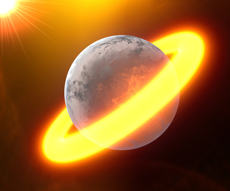 fire surround: Planet surrounded by a ring of fire in the middle of space, science fiction