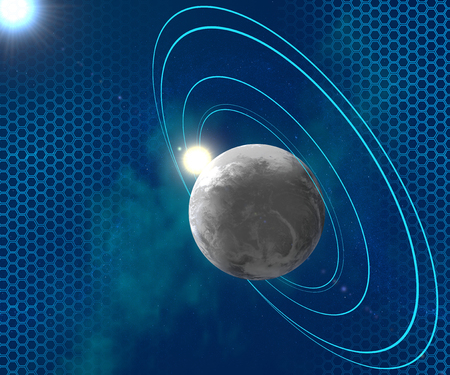 orbital: Blue planet surrounded by orbital rings, space, science fiction Stock Photo