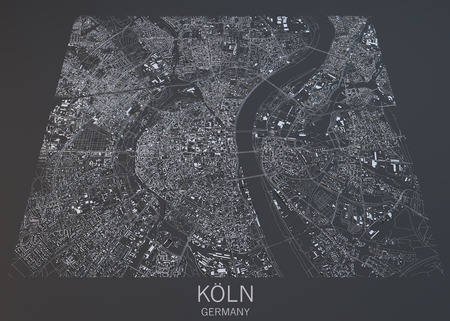 satellite view: Cologne map, satellite view, Germany
