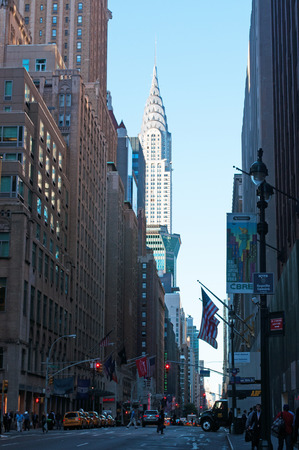 bowery: Empire State Building seen from the street, New York City Editorial