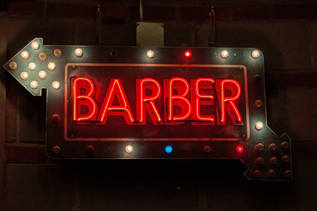 chelsea market: Neon sign of a barber shop in the Chelsea Market, beard, New York City