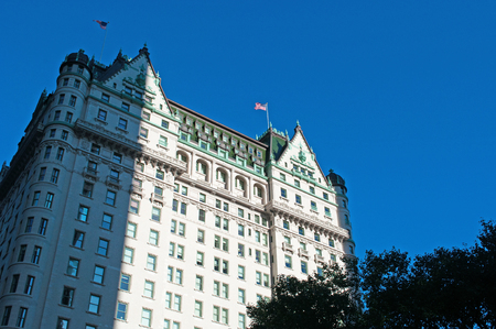bowery: The Plaza hotel, historical building in New York City skyline, flags, architecture Editorial