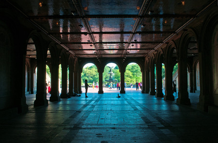 bethesda: Bethesda fountain, the lower passage, angel, Central Park, terrace, New York City Editorial