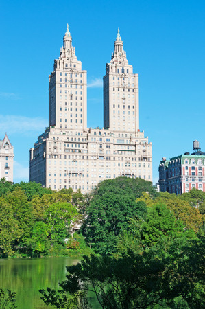 upper floor: San Remo building and pond Central Park, New York City Editorial