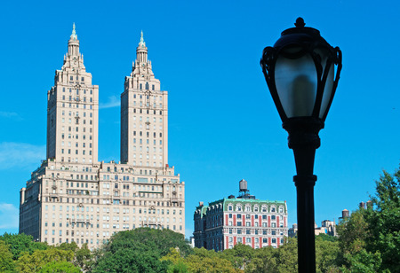 bowery: San Remo building and lamppost in Central Park, New York City