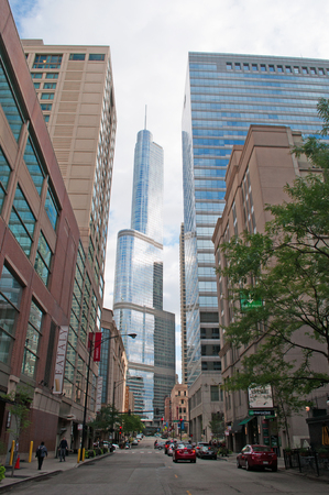 magnificent mile: The Trump tower seen from the street, buildings, skyscrapers, Chicago