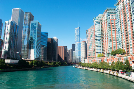 movable: Panoramic view on Chicago river, Trump Tower, buildings and skyscrapers, waterway, movable bridge and canal cruising Editorial