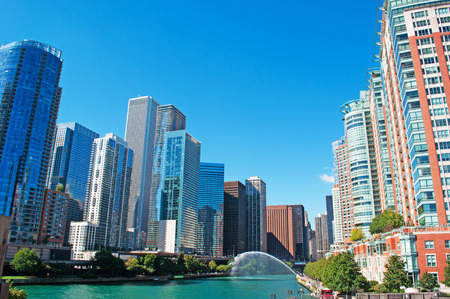 movable bridge: Panoramic view on Chicago river, buildings and skyscrapers, waterway, movable bridge and canal cruising