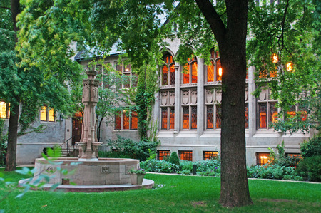 magnificent mile: The courtyard of Fourth Presbyterian Church, Magnificent Mile neighborhood, garden, fountain, trees