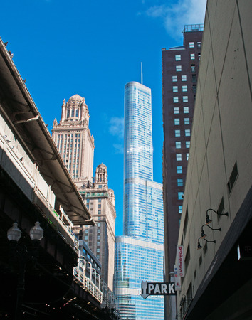 michigan avenue: Wrigley building and Trump Tower, Michigan Avenue, Near North Side, park sign, Chicago