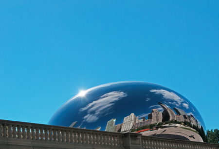magnificent mile: Cloud Gate sculpture, the Bean at Millennium Park, Loop community area, skyline, skyscrapers, tourists, reflections, Chicago Editorial