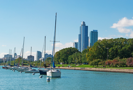 speedboats: Sailboats and speedboats dock, Chicago, Lake Michigan shoreline