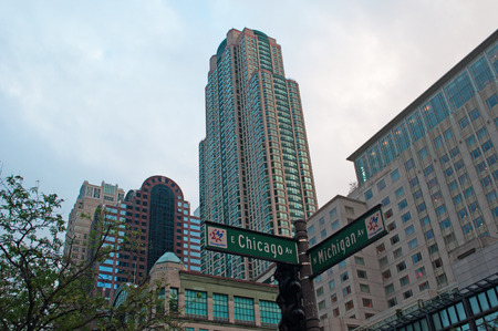magnificent mile: Chicago skyline, buildings and skyscrapers on Michigan Avenue, Editorial
