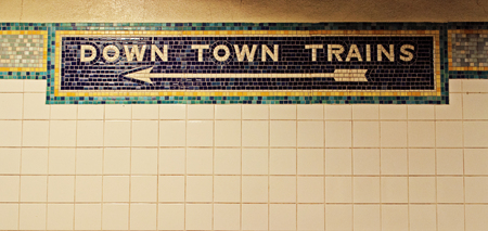 down town: Downtown, Down Town in New York City subway train, tiles and mosaic Stock Photo