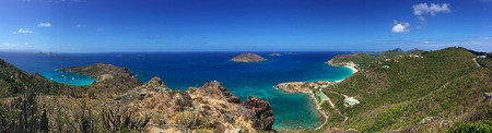 Panoramic view of Chevreau island, Petite Anse and Flamands beach, St Barth, St. Barts, Saint-Barthlemy, French West Indies, French Antilles, Caribbean sea, holidays